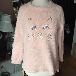 Kitty face fuzzy top M ( 7-9 ) gently worn